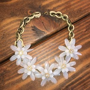 Anthropologie Glass Flower Statement Necklace